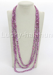 "length 120"" 8mm Baroque purple lavender freshwater pearls necklace j12275"