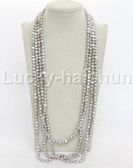 "length 120"" 8mm Baroque gray freshwater pearls necklace j12276"