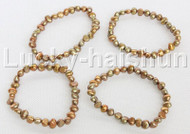 4piece stretchy 8mm Baroque coffee freshwater pearls bracelet j12294