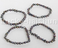 4piece stretchy 8mm Baroque black freshwater pearls bracelet j12296
