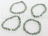 4piece stretchy 8mm Baroque green freshwater pearls bracelet j12301