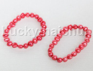 2piece stretchy 9mm Baroque red freshwater pearls bracelet j12317
