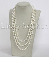 """length 68"""" 8mm round white south sea shell pearls necklace j12336"""