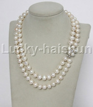 "Genuine 17"" 2row 10mm round white freshwater pearls necklace pearls clasp j12337"