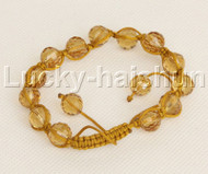 "adjustable Braided 7-10"" 10mm baroque yellow crystal Bracelet j12377"