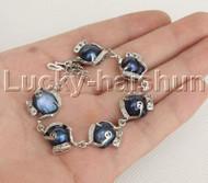"8-9"" 14mm Baroque Blue pearls zircon bracelet bangle adjustable j12380"