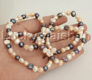 4piece stretchy 8mm Baroque Multicolor freshwater pearls bracelet j12394