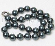 "18"" 14mm round black south sea shell pearls necklace j12398"