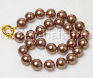 "18"" 14mm round coffee south sea shell pearls necklace j12404"