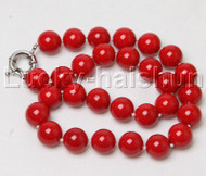 "18"" 14mm round red south sea shell pearls necklace j12406"