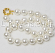 "18"" 14mm round white south sea shell pearls necklace j12415"