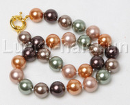 """18"""" 14mm round Multicolor south sea shell pearl necklace j12424"""