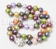"17"" 9mm round Multicolor freshwater pearl necklace 18KGP j12431A44"