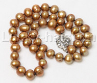 "17"" 9mm round coffee freshwater pearl necklace 18KGP j12432A44"