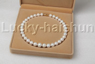 "AAA Luster natural 17.5"" 14mm round white FW pearls necklace 14K A100 j12450"