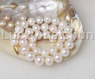 """AAA Luster natural 17.5"""" 14mm round white FW pearls necklace 14K A100 j12451"""
