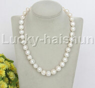 "natural 18"" 14mm  round white string beaded freshwater pearls necklace j12453"