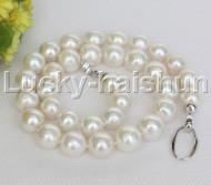 "natural 18.5"" 14mm  string beads round white Reborn keshi pearl necklace j12457"