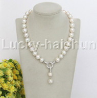 """natural 18"""" 14mm string beaded round white Reborn keshi pearl necklace j12458"""