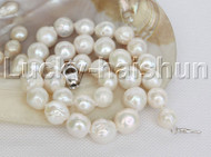 "natural 17"" 13mm string beaded round white Reborn keshi pearl necklace j12459"