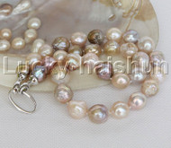 natural 13mm string beaded round Multicolor Reborn keshi pearl necklace j12460