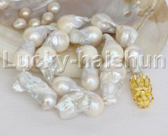 natural 34mm Baroque Stand string beaded white Reborn keshi pearl necklace j12461