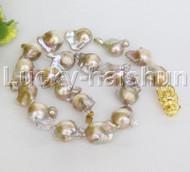 natural 25mm Baroque string beaded purple Reborn keshi pearl necklace j12462