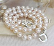 "natural luster 19"" 9mm near round Stand string beaded pearls necklace j12464"