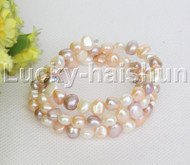 natural stretchy 3row bohemian white pink white purple pearls bracelet j12467