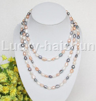 "long 60"" 11mm Baroque Multicolor MIX pearls necklace j12489"