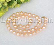 "AA+ natural 18"" 10mm round light pink string pearls necklace 14K clasp j12501"