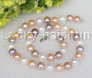 "AAA+ natural 17.5"" 11mm round Multicolor string pearls necklace 14K clasp j12503"