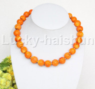 "19"" 16mm natural round carved yellow coral necklace j12504"