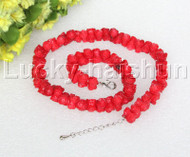 "AAA 16-18"" 11mm flower carved red coral necklace 18KGP clasp j12505"