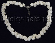 "AAA 17""-19"" 10mm flower carved white coral necklace 18KGP clasp j12506"