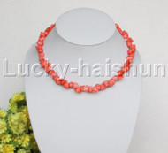 "AAA 17""-19"" 10mm flower carved pink coral necklace 18KGP clasp j12507"