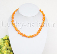 "AAA 17""-19"" 10mm flower carved yellow coral necklace 18KGP clasp j12508"