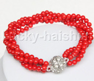 "AAA 8"" 4row 4mm round red coral bracelet magnet clasp j12509"