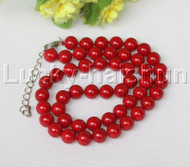 "18-20"" 8mm red south sea shell pearls necklace 18KGP clasp j12545"