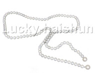 """stylish long 26"""" 8mm white south sea shell pearls necklace j12575"""