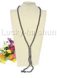 "stylish long 26"" 8mm Tahitian black south sea shell pearls necklace j12576"
