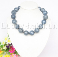 "AAA 100% NATURE GENUINE 20""23MM ROUND BLUE CORAL NECKLACE j12581"