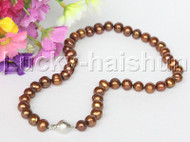 "17"" 10mm round coffee brown freshwater pearls necklace 18KGP j12588"
