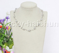 "16"" 9mm Baroque gray white freshwater pearls necklace 18KGP j12600"