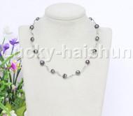 """16"""" 9mm Baroque Black freshwater pearls necklace 18KGP j12601"""