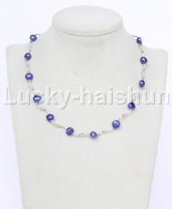 "16"" 9mm Baroque navy blue freshwater pearls necklace 18KGP j12602"