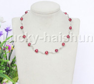 "16"" 9mm Baroque wine red freshwater pearls necklace 18KGP j12603"