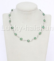 "16"" 9mm Baroque green freshwater pearls necklace 18KGP j12604"