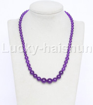 "19"" 6-14mm Graduated round purple jade necklace 18KGP j12610"