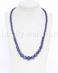 "19"" 6-14mm Graduated round bule lapis lazuli necklace 18KGP j12612"